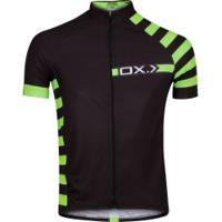 Camisa De Ciclismo Oxer Monza Zíper Inteiro - Masculina - Preto/Verde Cla