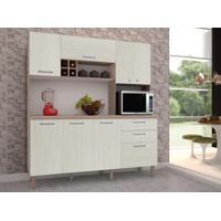 Cozinha Compacta Esmeralda 8 Portas Nogal/Arena - Kits Paraná
