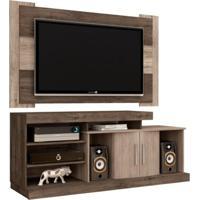 Rack Bancada Itapema Com Painel Para Tv De Até 50 Polegadas Viena Terrarum/Acácia - Móveis Leão