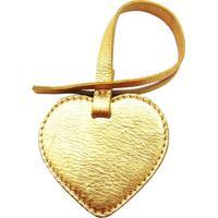 Chaveiro Crisfael Acessórios Em Couro Metalizado Em Formato De Coração Metal Ouro