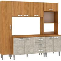 Cozinha Compacta Master 9 Pt 3 Gv Nogal Com Concreto
