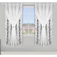 Cortina Lava Fácil Blackout Com Voil Para Varão Floral Branco 2,80X2,50