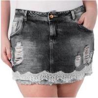 Mini Saia Jeans Confidencial Extra Com Renda Plus Size - Feminino-Preto