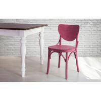 Cadeira De Madeira Para Churrasqueira Torneada Com Encosto E Assento Anatômico Lilás Eléonore - 44X49,5X82,5 Cm