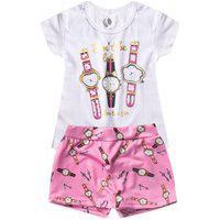 Conjunto Infantil Don'T Be Relógios Branco 550 - Laluna