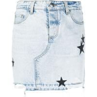 Amiri Saia Jeans Com Patch De Estrela - Azul
