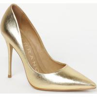 Scarpin Em Couro Metalizado Com Recortes- Dourado- Scarrano
