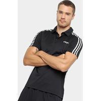 Camiseta Polo Adidas D2M 3S Masculina - Masculino-Preto+Branco