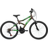 Bicicleta Lazer Caloi Alpes Aro 24 - Susp Dianteira - 21 Velocidades - Marrom Metálico