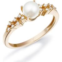 Anel Ouro Rosé Pérola E Diamante