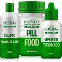 Minoxidil Turbo + Pill Food + Shampoo Bomba De Café - Kit