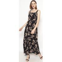Vestido Longo Floral Com Franzidos-Preto & Begevip Reserva