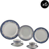 Aparelho De Jantar Cedro- Branco & Azul- 42Pçswolff