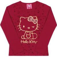 Blusa Bebê Estampada Hello Kitty Feminina - Feminino-Vermelho Escuro