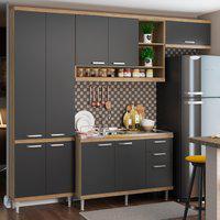 Cozinha Compacta Multimóveis 5840 Sicília 4 Peças Argila E Grafite