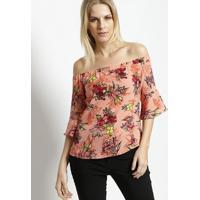 Blusa Ombro A Ombro Texturizada- Coral & Rosa- Miliomiliore