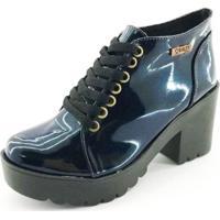 Bota Quality Shoes Verniz Glitter Feminina - Feminino-Azul