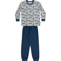 Pijama Bebê Longo Boca Grande Estampa Carrinho Masculino - Masculino-Mescla