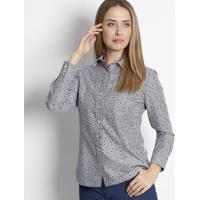 Camisa Estrelas Em Algodão Egípcio - Cinza & Roxa - Dudalina