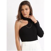Blusa Feminina Em Tricô Um Ombro Só Assimétrico Gola Alta Preta