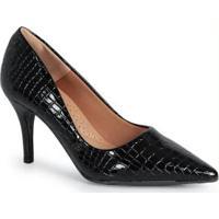 Sapato Scarpin Feno Animal Skin Preto