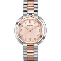 6ac79f5a1b8 Relógio Bulova Feminino Aço Prateado E Rosé - 98P174