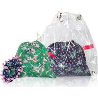 Mochila Conjunto Infantil Ania Store Folhas E Coqueiros Feminina - Feminino-Verde