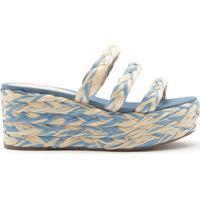 Sandália Flatform Corda Tricô Multicolor Azul   Schutz