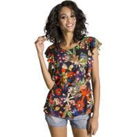 Blusa Floral Cantão - Feminino-Preto