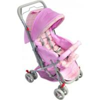 Carrinho De Bebê Passeio Vira Berço Alça Reversível Lilás