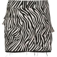 Almaz Saia Com Estampa De Zebra E Acabamento Desfiado - Branco