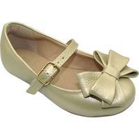 Sapato Boneca Em Couro Com Laã§O - Begeprints Kids