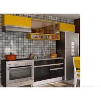 Cozinha Modulada Completa 4 Módulos 100% Mdf Branco/Ébano/Gold - Glamy