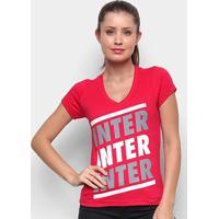 Camiseta Internacional Listras Retrô Mania Feminina - Feminino-Vermelho