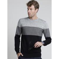 Suéter Masculino Slim Em Tricô Listrado Cinza Mescla