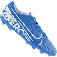 Chuteira De Campo Nike Mercurial Vapor 13 Club Fg/Mg - Adulto - Azul Cla/Branco