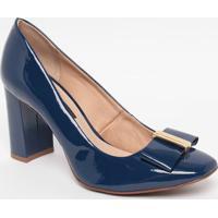 Sapato Em Couro Envernizado- Azul Marinho- Salto: 8,Jorge Bischoff