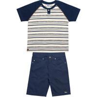 Conjunto Infantil Camiseta Com Shorts Azul