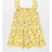 Vestido Infantil Estampado Floral Com Lastex E Babado Alça Média Amarelo