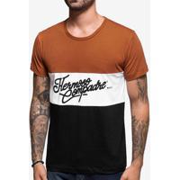 Camiseta Colorblock Marrom/Preto 103913