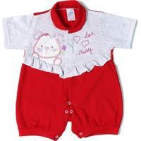 Macacão Infantil Para Bebê Menina Vermelho