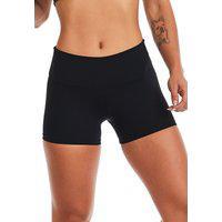 Short Fitness Feminino Preto Curto Em Poliamida Com Proteção Solar Uv50+ Contra Raios Solares Liso Moda Academia