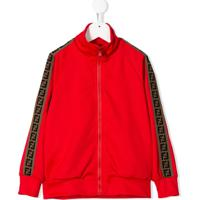 Fendi Kids Side Stripe Zip-Up Jacket - Vermelho