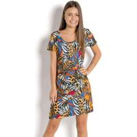 Vestido Juvenil Animal Print Decote Redondo