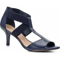 Sandália Shoestock Salto Fino Elásticos Feminina - Feminino-Marinho
