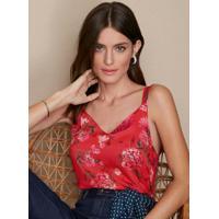 Blusa Vermelho Estampada Alças Duplas Malwee