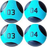 Kit 4 Medicine Ball Liveup Pro 3 E 4 Kg Bola De Peso Treino Funcional - Unissex