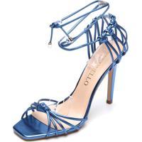 Sandália Cecconello Metalizada Azul