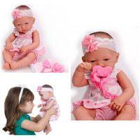 Boneca Baby Ninos Recém Nascida Bebê Reborn Com Acessórios Cotiplás