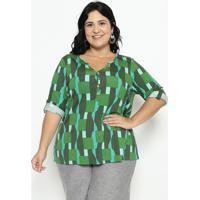 Blusa Com Botões - Verde Escuro & Verde Águamalwee